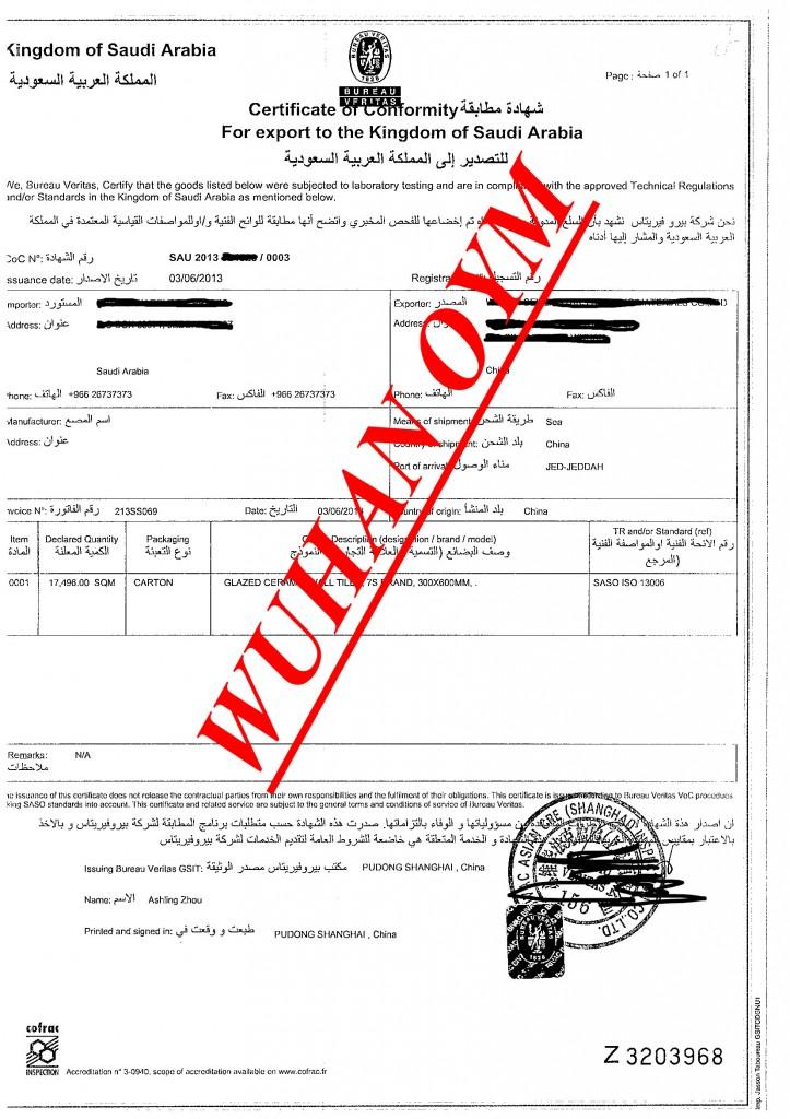 SASO certificate-BV